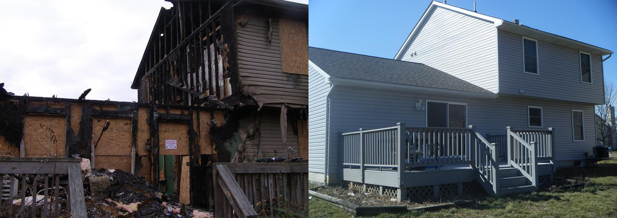Before and After of a Burnt House